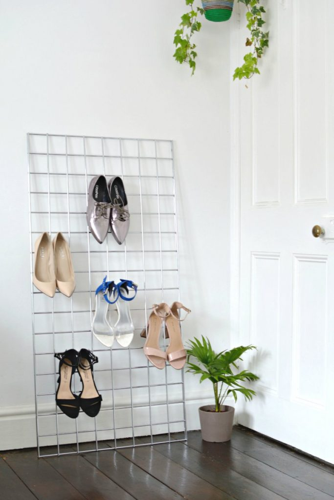 DIY Grid Shoe Storage Display