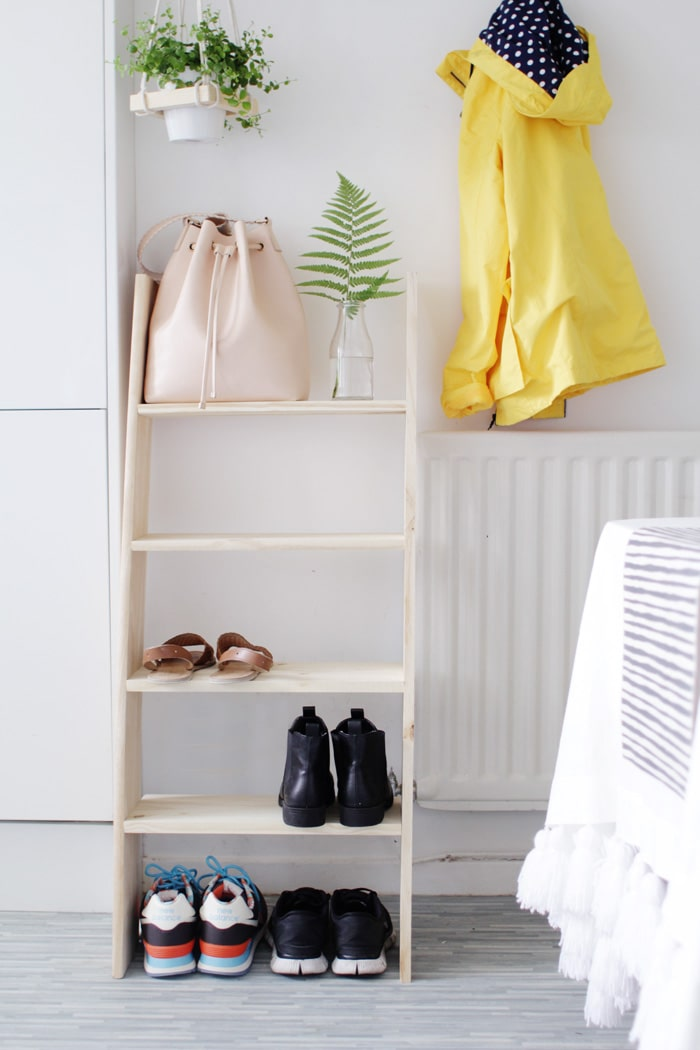 DIY Ladder Shelf Shoe Storage