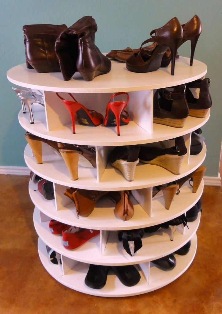 DIY Lazy Susan Shoe Storage Unit