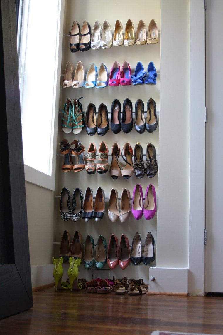 DIY Tension Rod Shoe Racks