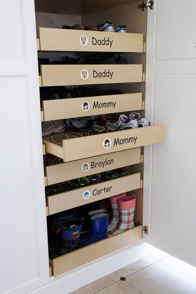 37 space saving shoe storage ideas homelovr family shoe drawers solutioingenieria Choice Image