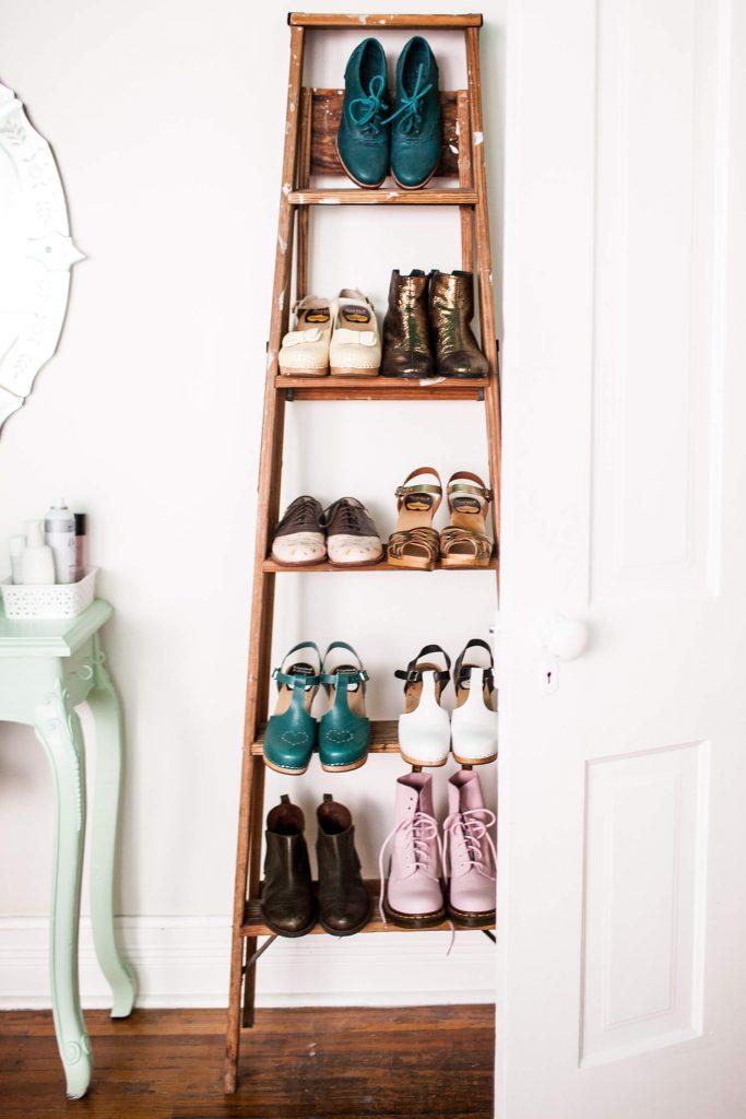 Ladder Shoe Storage