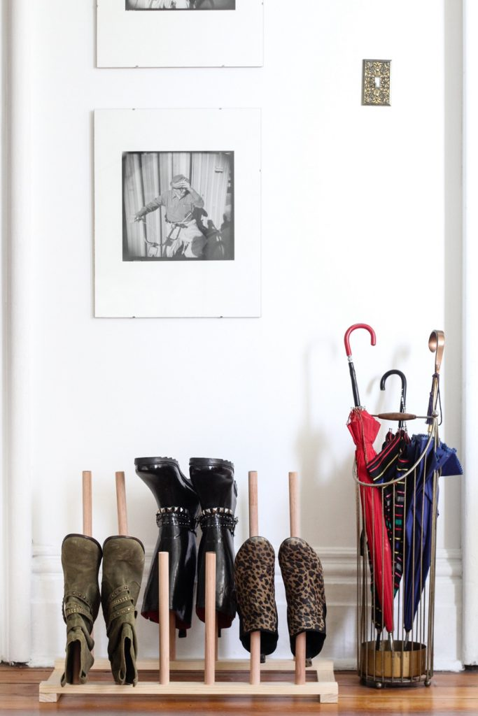 Wooden Dowel Shoe Storage Hack