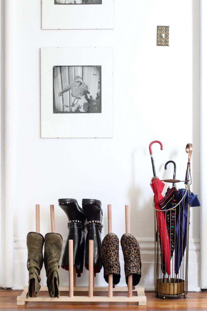 Wooden Dowel Shoe Storage Hack