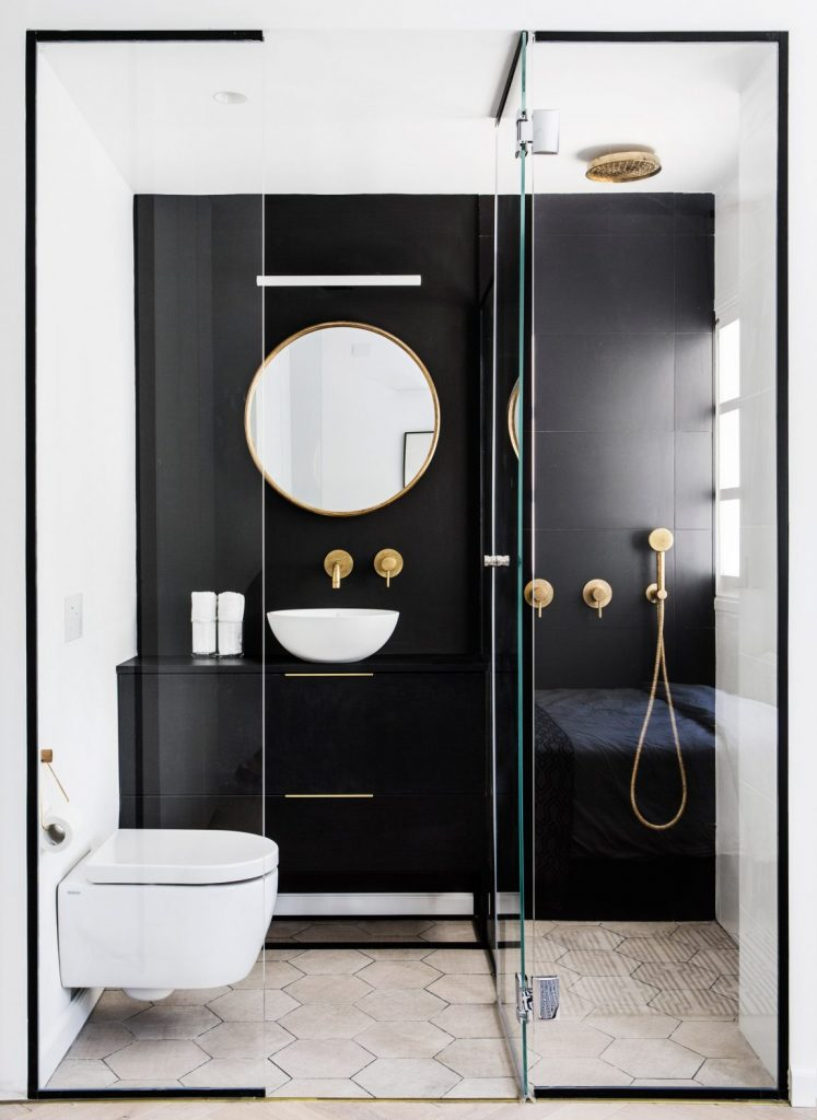 Black Shower Tile Wall