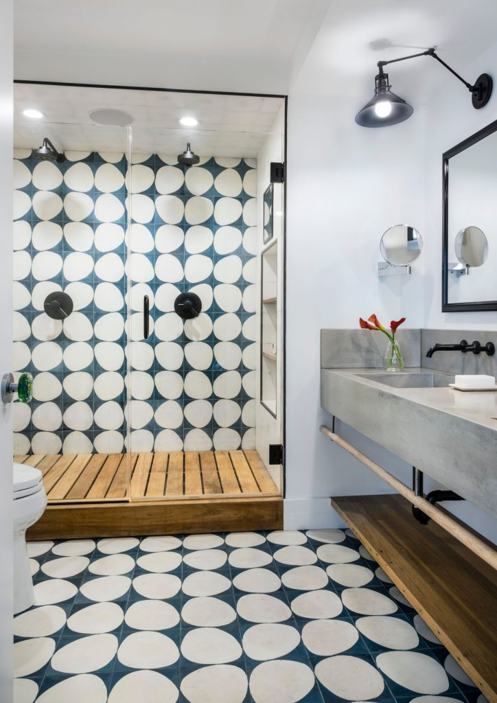 Blue and White Shower Tiles