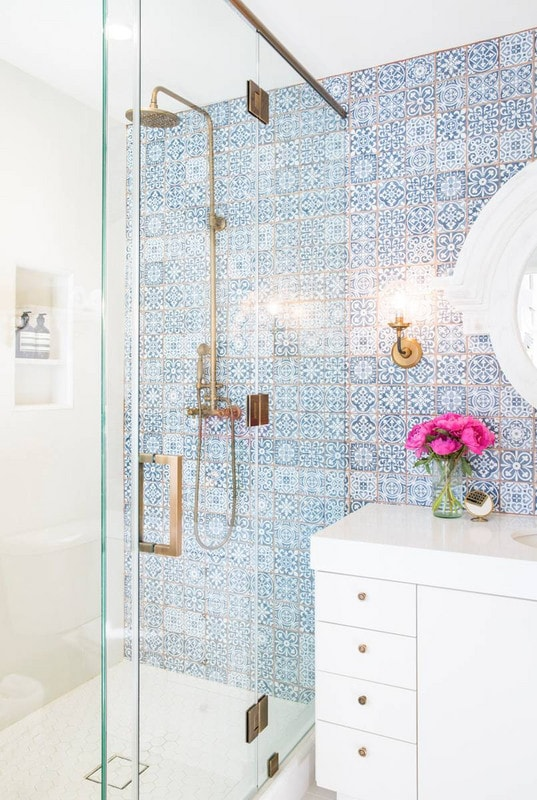 Gorgeous Blue Moroccan Tiles and Gold Grout