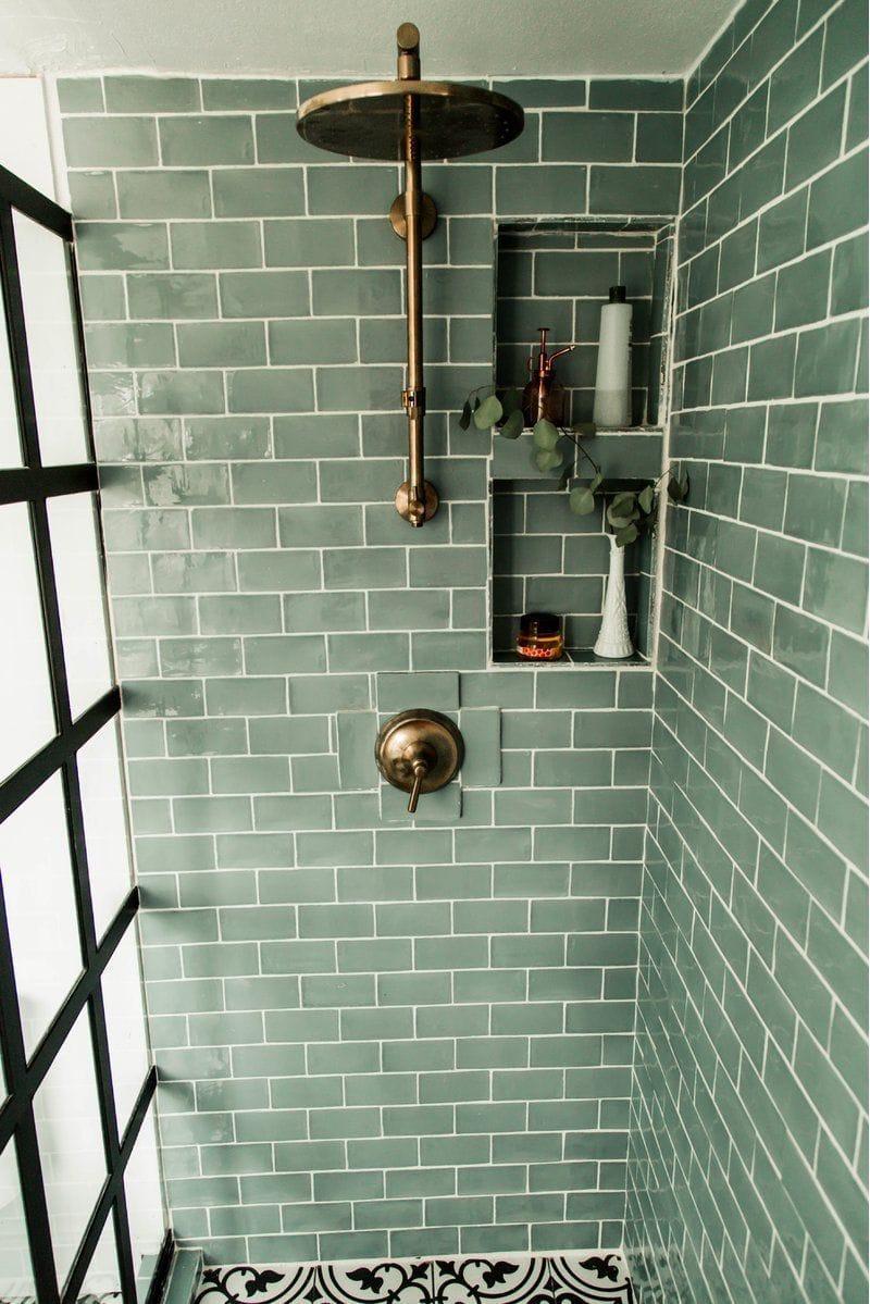 Green Metro Tiles Shower