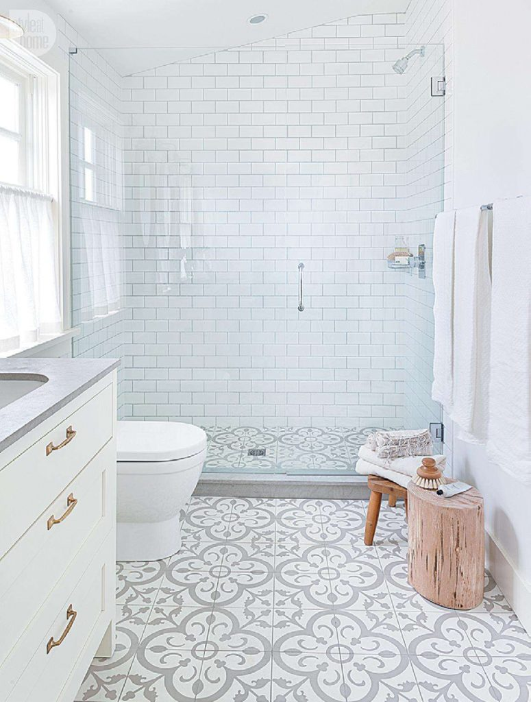 Modern Farmhouse Bathroom With Bold Pattern Cement Tile Flooring