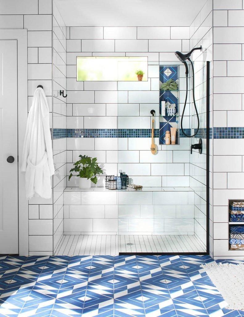 Pop of Pattern in Bathroom Tiles