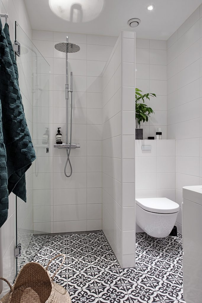 Simple White Shower Tiles With Black And White Tile Floor