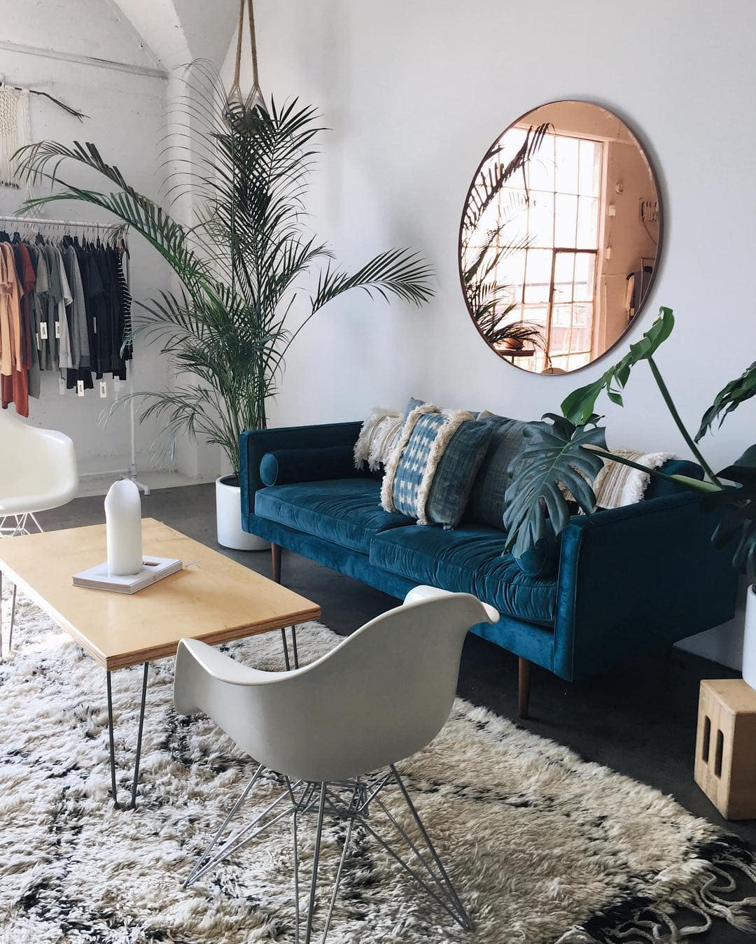 Blue Velvet Sofa & Oversized Mirror