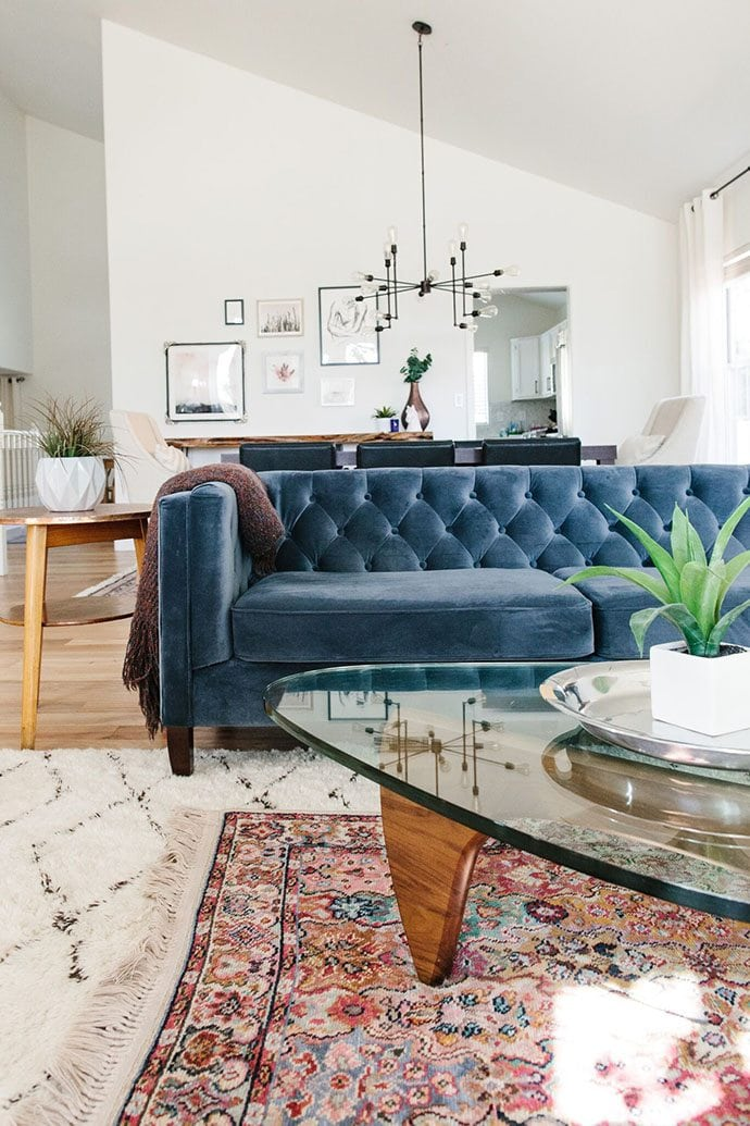 Blue Velvet Sofa & Rugs
