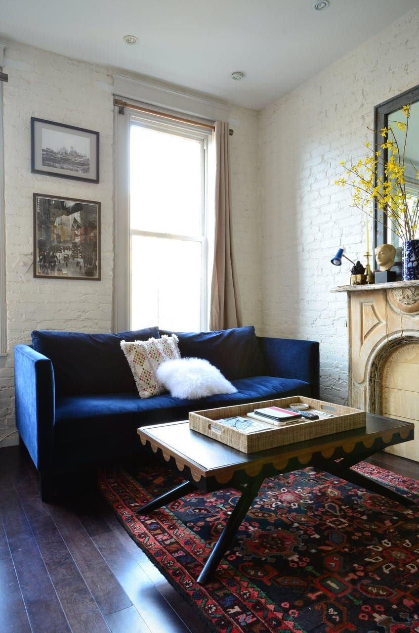 Blue Velvet Sofa in a Small Living Room
