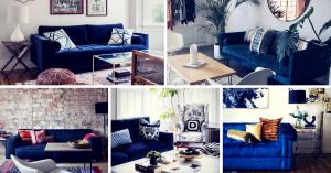 Blue Velvet Sofas Living Room