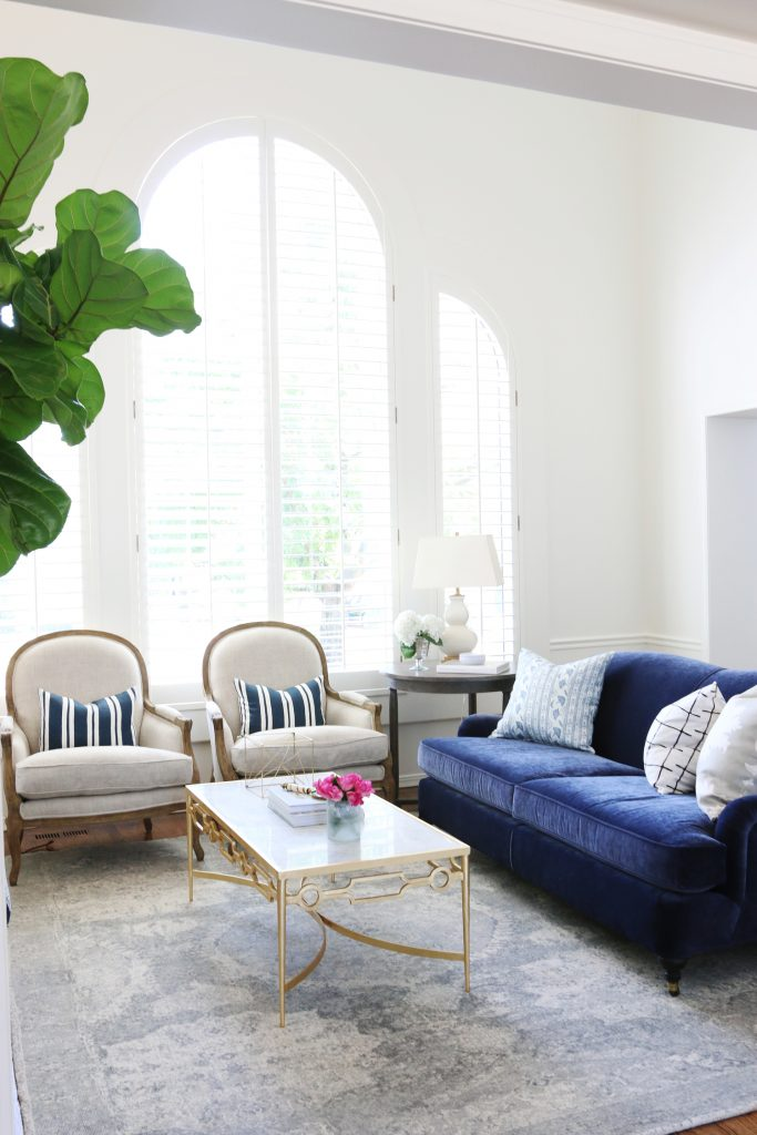 Bold Navy Velvet Sofa and Mixy-Matchy Pillows