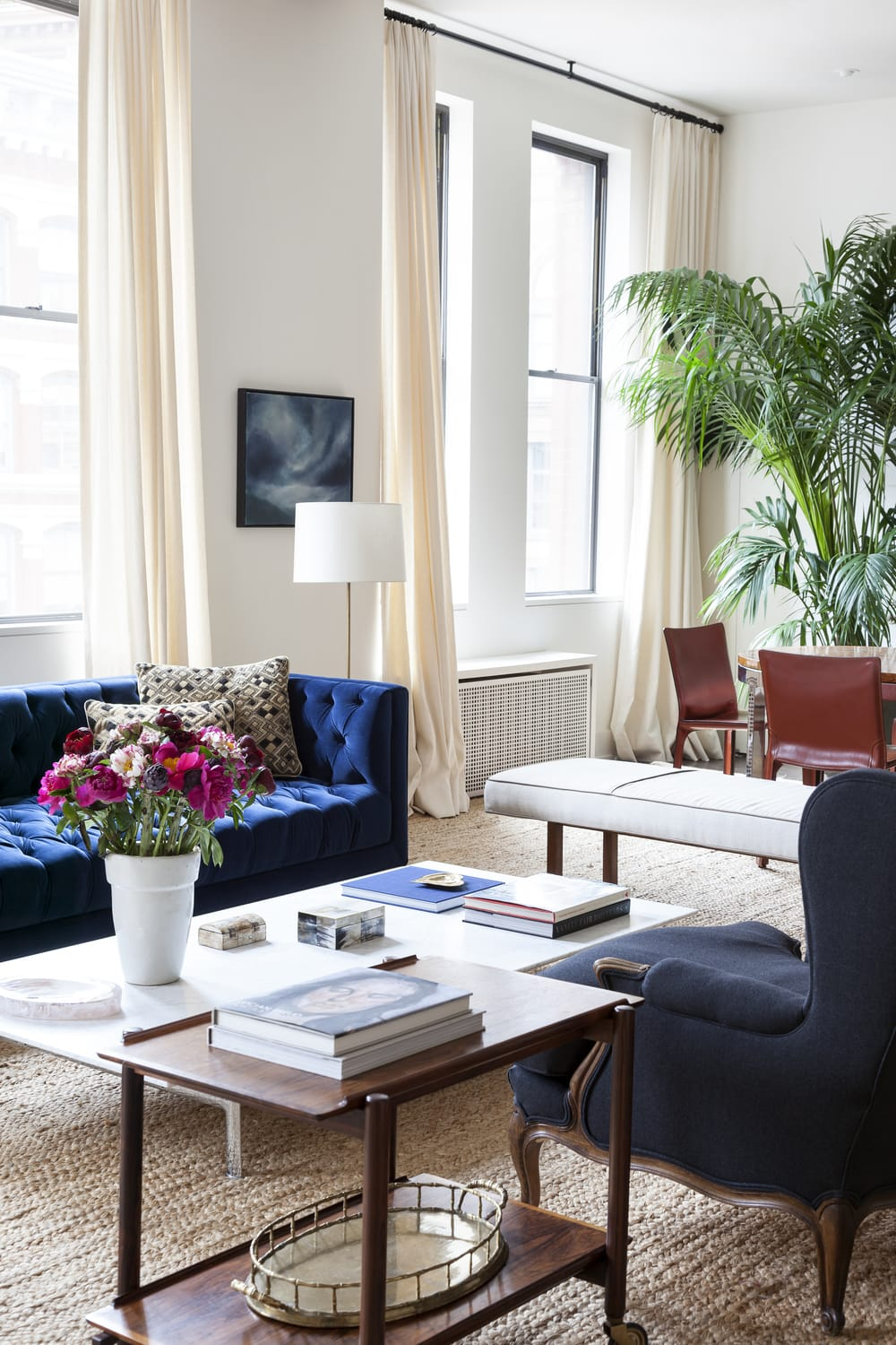 Eclectic Style Living Room with Blue Velvet Sofa