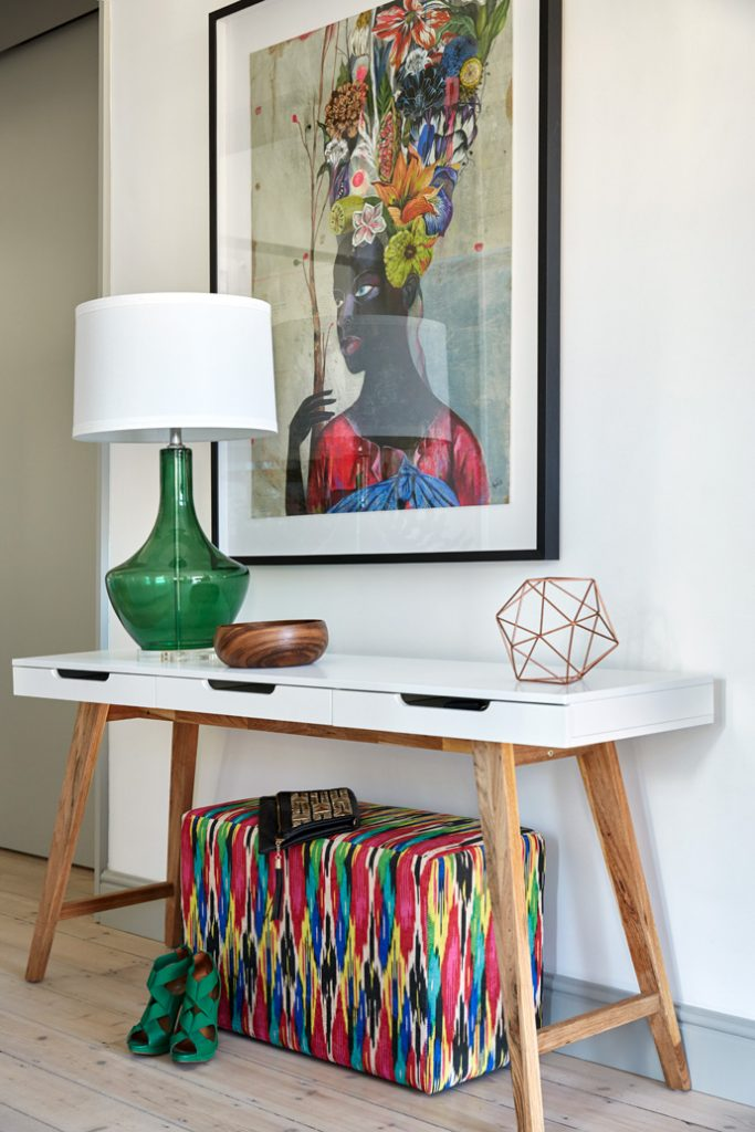 Entryway console table and colorful print