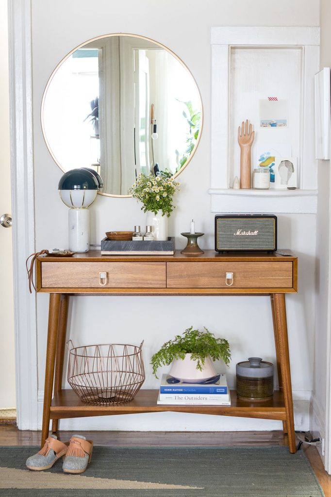 Entryway with wooden console table