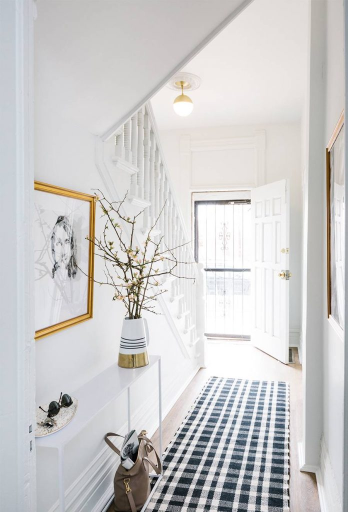 Entrance hallway with super slim console table