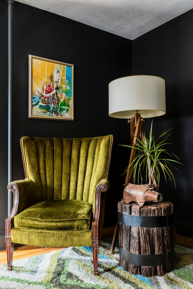 Reading Nook with Black Wall and Yellow Chair