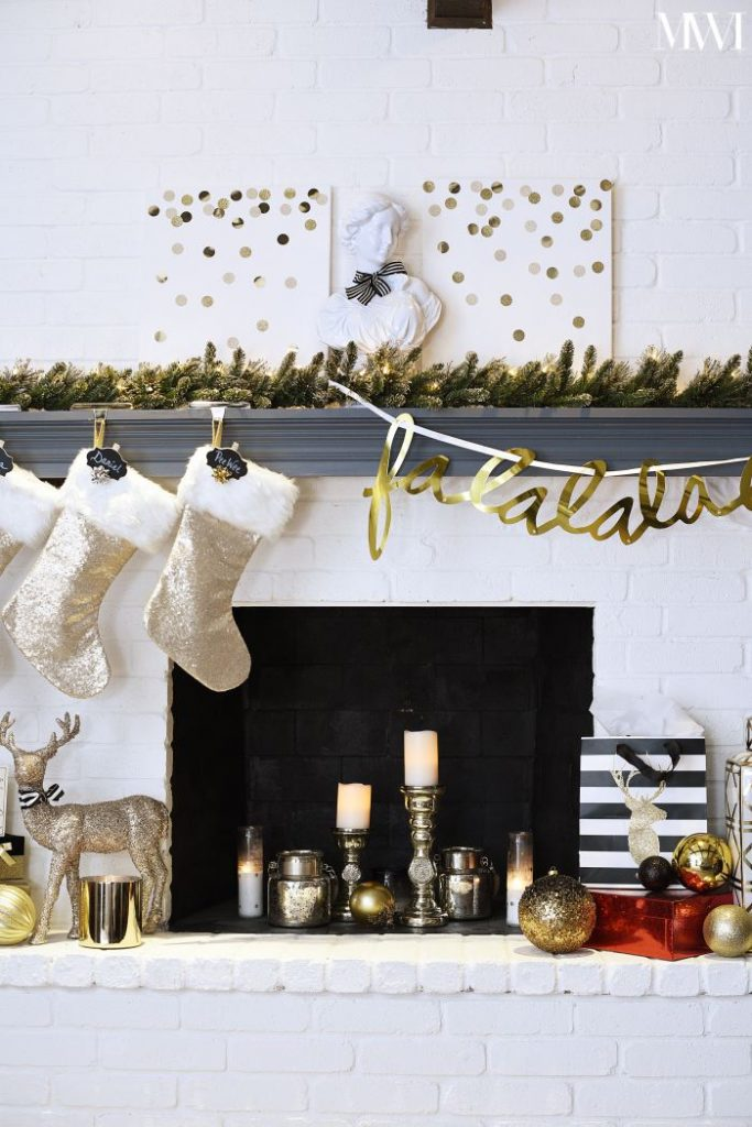 Black, White & Gold Holiday Mantel