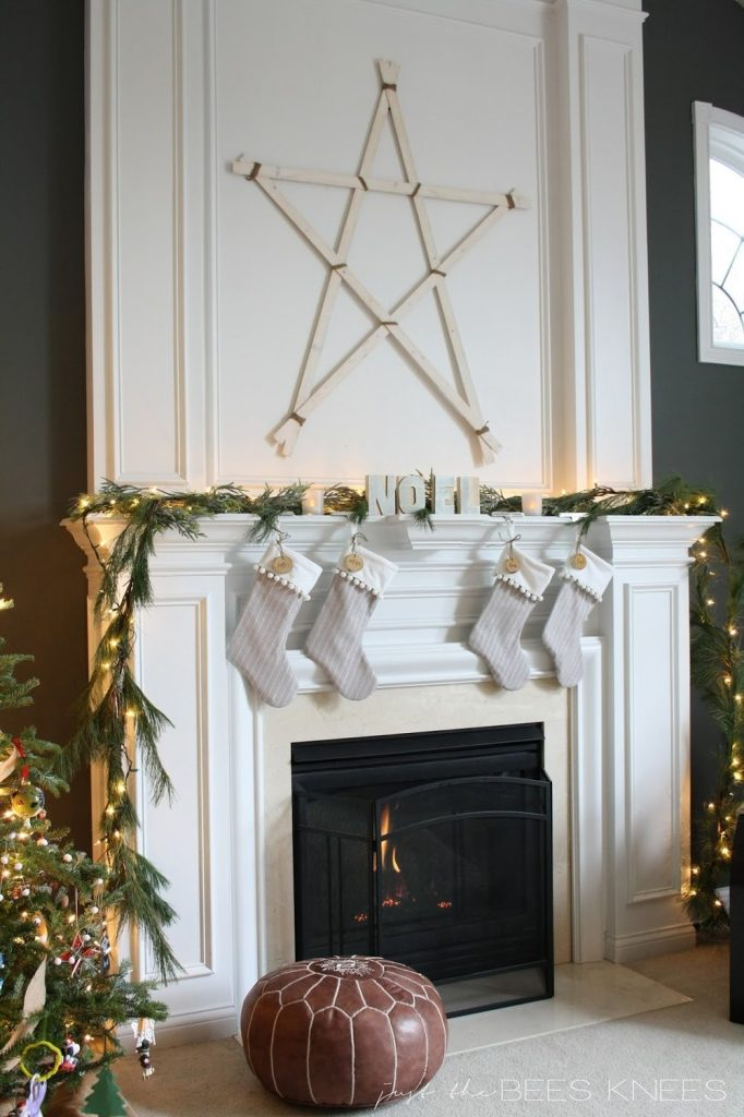 Christmas Mantel with DIY Pom Pom Trim Stocking​