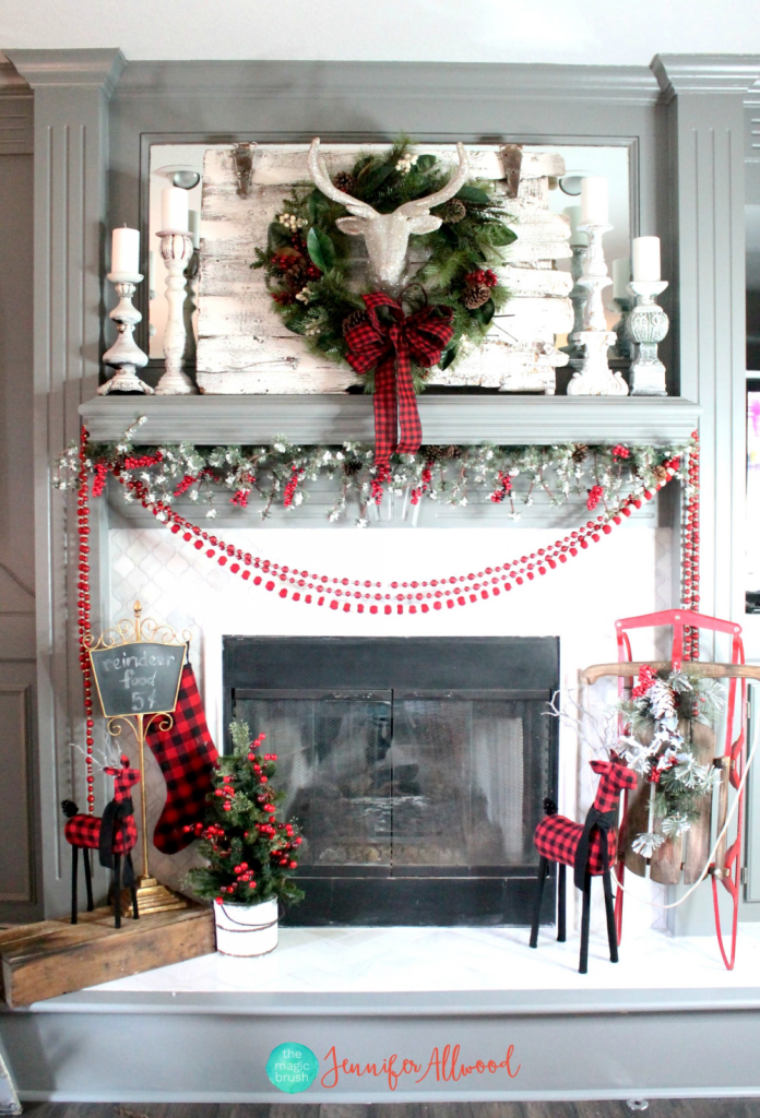 Christmas Mantel with Glitter Dear Head and Buffalo Check