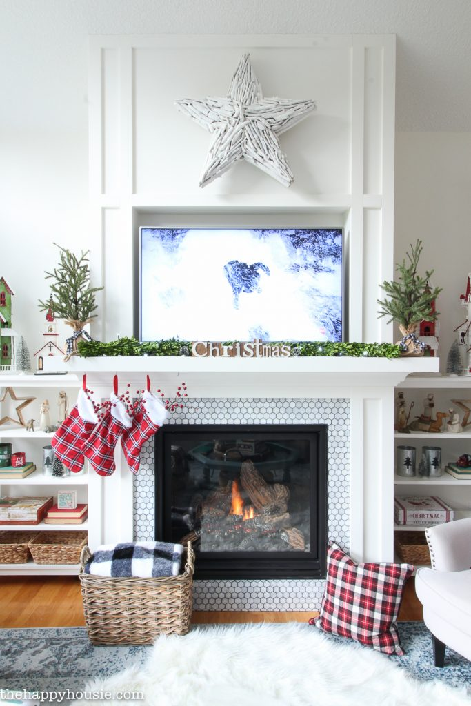 Classic Red White and Black Christmas Mantel
