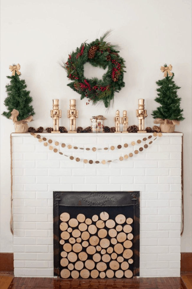 DIY Golden Nutcracker Holiday Mantel