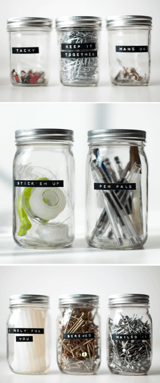 Office Organization Jars with Labels