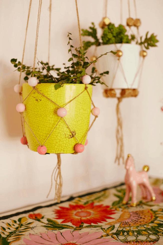 DIY Beaded Plant Hangers