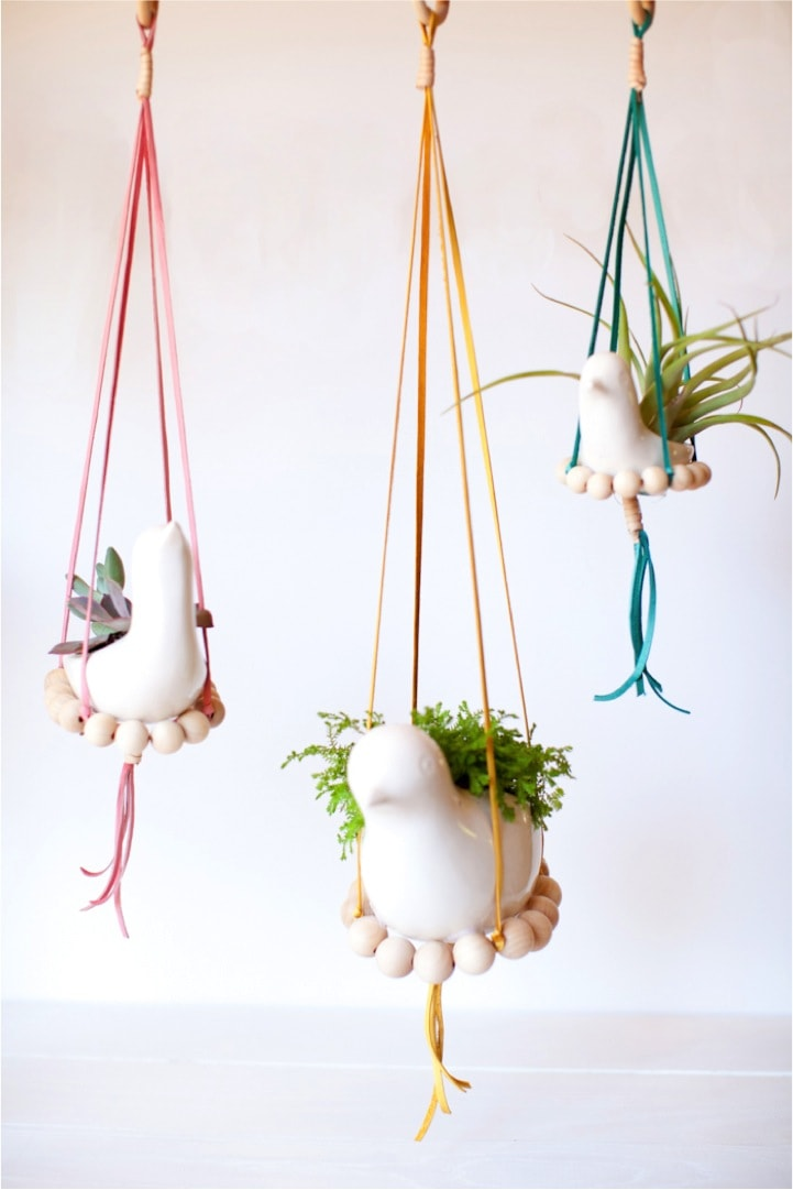 DIY Beads and Birds Hanging Planters