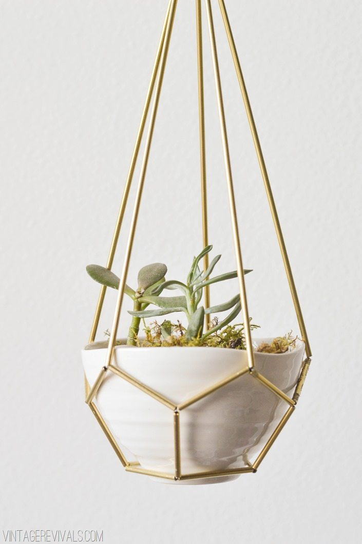 DIY Leather and Brass Teardrop Hanging Planter