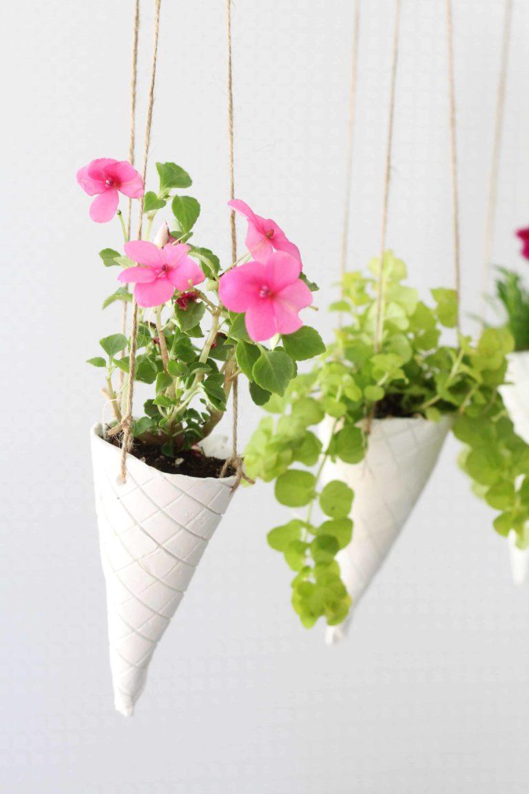 Ice Cream Cone DIY Hanging Planters