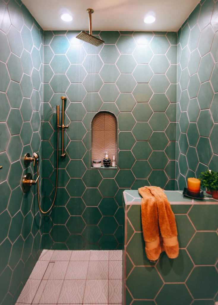 Green Hexagon Tiles With Copper Grout