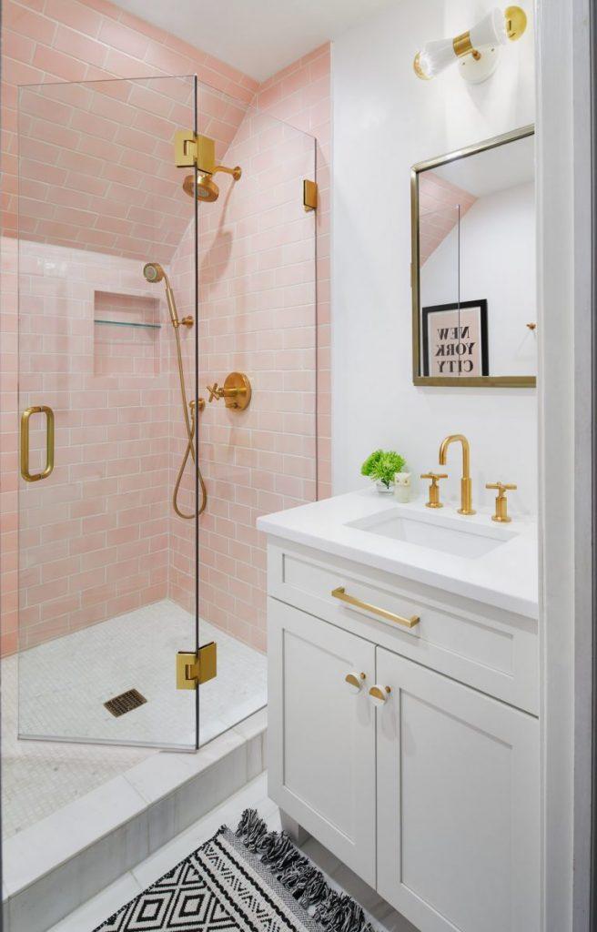 Pink Color Shower Tiles