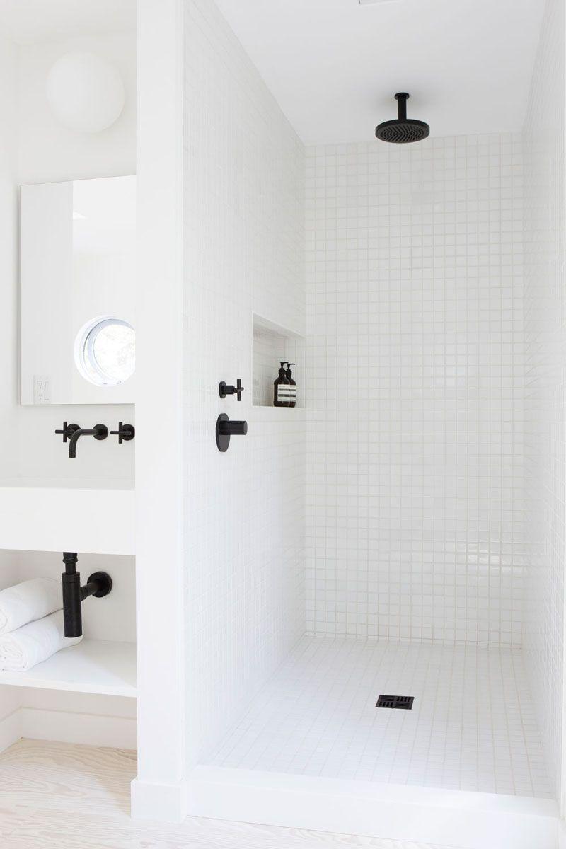 Simple White Tiles & Black Accents