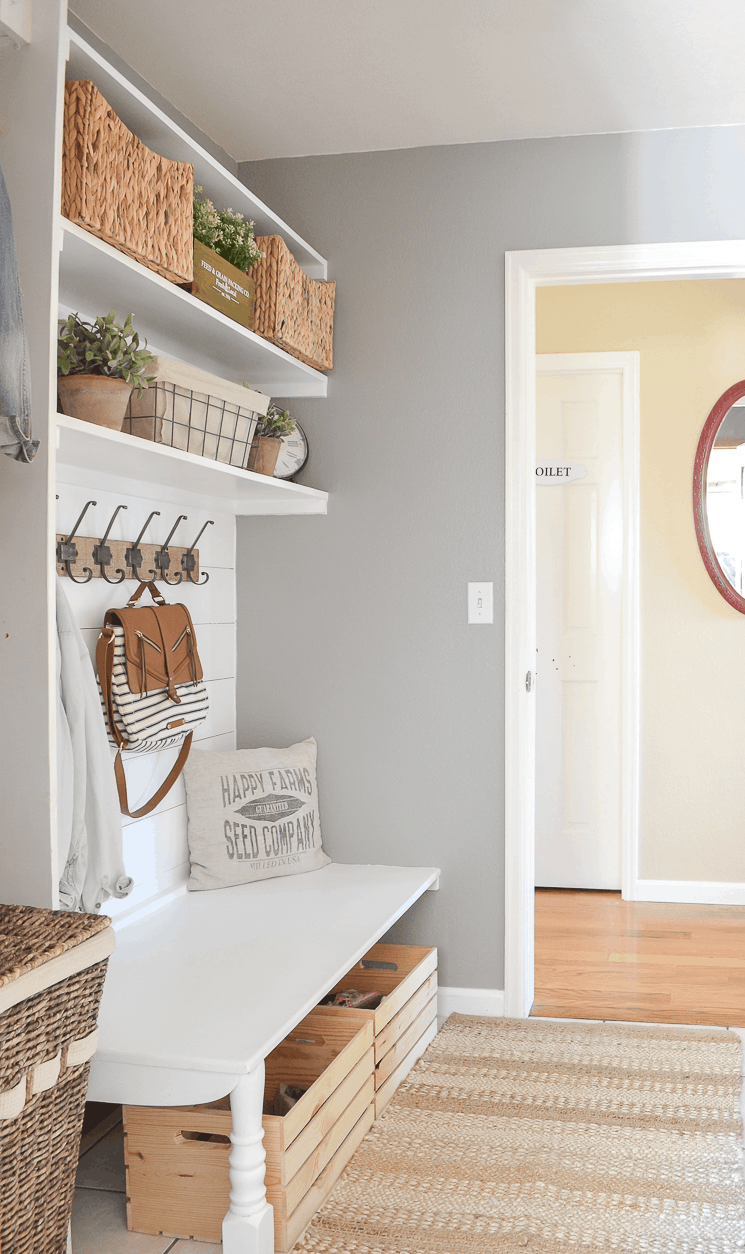 Farmhouse Style Mudroom On A Budget