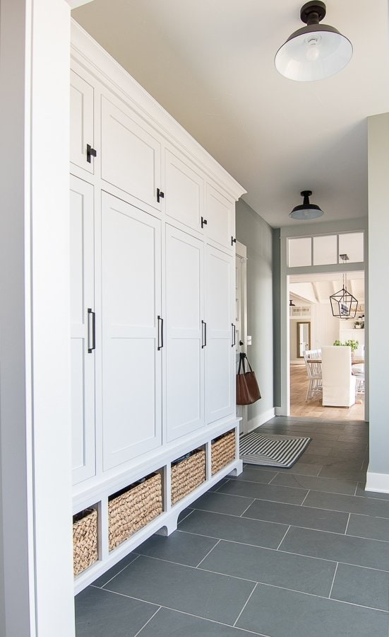 Gray and Blue Mudroom