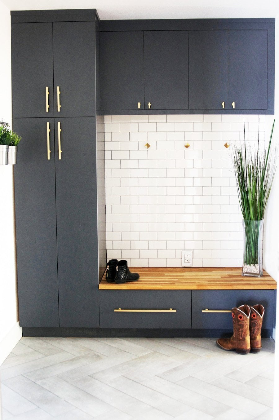 Modern Mudroom With Metro Wall Tiles