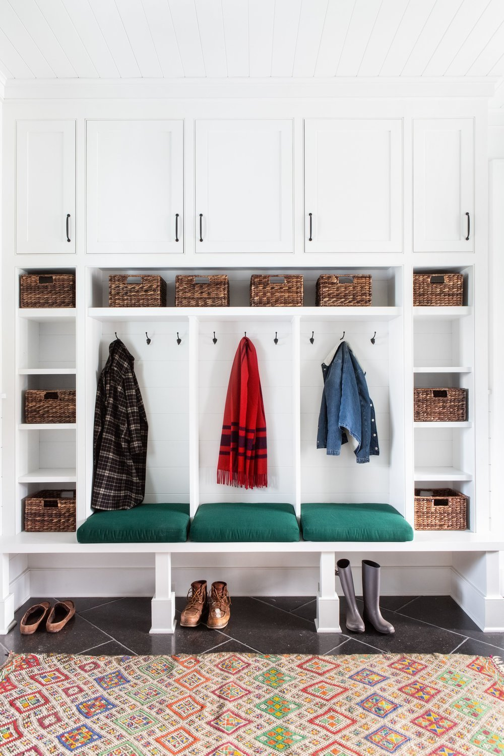 Mudroom With White Built-In Lockers