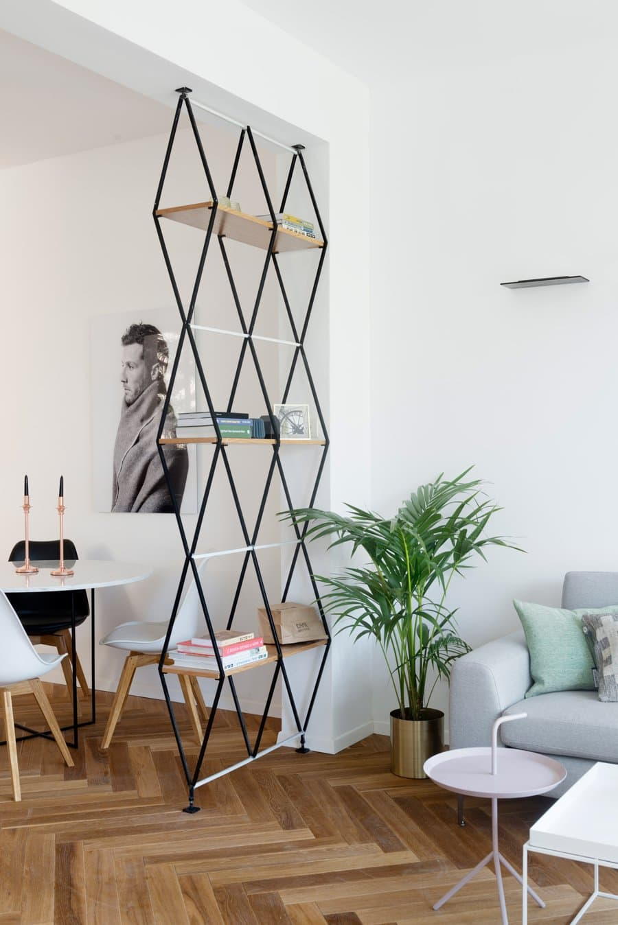 Open Shelving with Geometric Forms